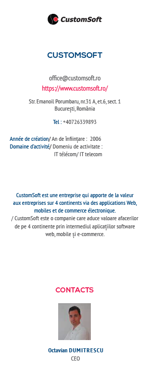 Customsoft in the 2019-2020 yearbook of the members of The french chamber of commerce, industry, and agriculture in Romania